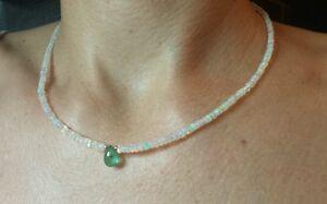 25 CT Genuine Fire Opal pear Zambian Emerald solid 14k Gold Necklace pendant