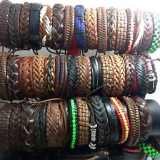 100x Top Mix Men's Genuine Leather Bracelets Wholesale Cuff Wristbands Bangles