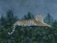 Tiger Watercolour Painting.Original big cat,wild animal,starry night,realism.