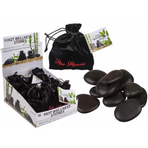 Spa Hot Rocks Relaxing Massage Stones Gift Relaxing Therapy 9pc Velvet Pouch New