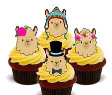 Llama Alpaca Pack of 12 Edible Cup Cake Toppers, Fairy Bun Decorations Cute