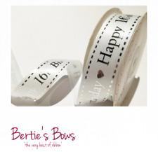 HAPPY BIRTHDAY 16th 18th 21st 30 40 50 60 70 80th - Bertie's Bows Satin Ribbon