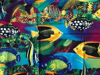 Tropical Fish Fabric Psychedelic Colors Quilting Sewing Crafts 36 x 42""