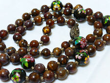 Vintage Chinese CLOISONNE and BROWN JASPER Beads Necklace, Silver Clasp,  24""
