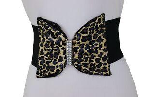 Women Wide Black Color Elastic Band Corset Belt Hip Waist Leopard Bow Buckle S M
