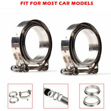 "Set/2x for Turbo Exhaust Downpipes 2.5"" V-Band Flange &Clamp Kit Stainless Steel"