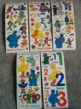 Lot 5 Different Vintage 2002 SESAME STREET BIG STICKER Colorblok Craft Scrapbook