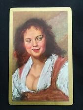 Vintage Swap / Playing Card - Art - Smiling Lady with Wavy Red Hair