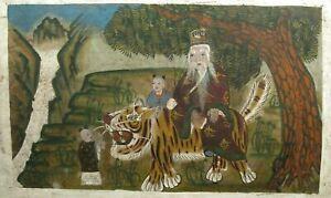 Korean Gouache on paper Minhwa Sansin Sansido Sansin w/ tiger ca. 18-19th c.