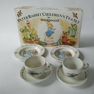 Wedgwood Peter Rabbit Children's Tea Set 6 Pieces Vintage Play Dishes
