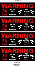 """4 GPS Cellular Monitor Security Home Alarm Decal Sticker Sign 6.5"""" x 2.5"""" each"""