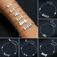 Fashion Stainless Steel Silver Family Bracelet Sister Bangle Chain Women Jewelry