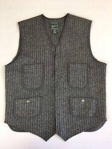 Woolrich Men's Gray Striped Wool Full Zip Vest Size M Snap Pockets