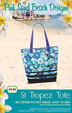 """ST TROPEZ TOTE Purse Sewing Pattern Pink Sand Beach 18"""" W x 15"""" Tall x 6""""D"""