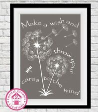 'Make a wish and throw your cares to the wind' motivational print art typography