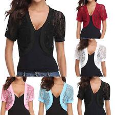 Fashion Womens Solid Short Sleeve Floral Lace Shrug Open Front Bolero Cardigan