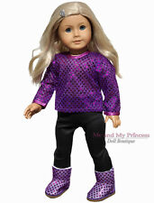 """Black Leggings Pants & Purple Sequin Top clothes for 18"""" American Girl Doll Only"""