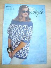 "Ladies Slash Neck Jacquard Jumper DK Knitting Pattern Size 32-38"" NEW 0981"