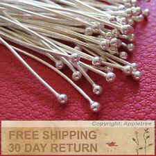 100 Solid Sterling Silver Ball Head Pins Wire 24 ga 1.5 in -Top Quality Headpins