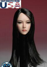 1/6 Asian Female Head Sculpt LONG BLACK HAIR For TBLeague Phicen PALE Figure USA