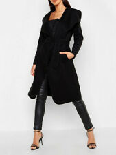 Women Ladies Italian Long Duster Jacket French Belted Trench Waterfall Coat 8-22