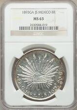 MEXICO REPUBLIC  GUADALAJARA MINT 1893-GaJS  8 REALES COIN, CERTIFIED NGC MS63