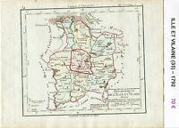 Dépt 35 - Carte de l'Ille et Vilaine Superbe Gravure Cuivre Aquarellée de 1792