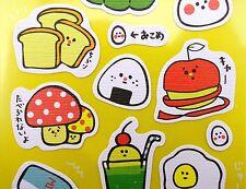 Kawaii Japanese food & drink emoticon stickers! Onigiri, takoyaki, eggs, toast