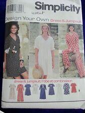 UNCUT SIMPLICITY #9407 WOMEN SZ 18-20-22-24 JUMPSUIT&DRESSES SEWING PATTERN