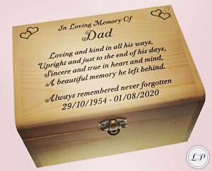 Adult Dad Memorial Ashes Urn Personalised Casket Mum Keepsake Box Gift Memory