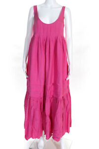 Solid & Striped Womens Scoop Neck Tiered A-Line Max Dress Pink Size M