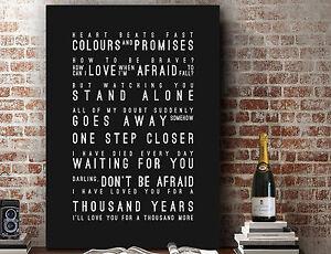 Christina Perri A Thousand Years | Word Wall Art SONG LYRICS PRINT | CANVAS GIFT