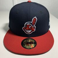 New Era 59Fifty Hat On-Field Cleveland Indians Chief Wahoo 5950 Cap Sz 7 5/8 MLB