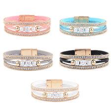 Leather Wrap Around Multilayer Bracelet Bangle Wristband Rhinestone Crystal Gift