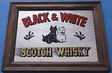 VINTAGE BLACK & WHITE SCOTCH WHISKY DOGS ADVERTISING MIRROR PUB BAR MAN CAVE