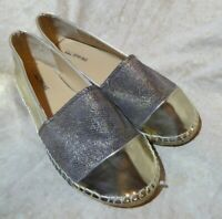 🥿 Call It Spring Slip On Espadrille Flats size 8 M Gold Patent; Bronze Accents