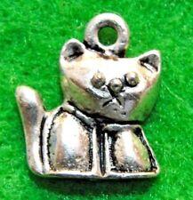 50Pcs. WHOLESALE Tibetan Silver Kitty CAT Charms Pendants Earring Drops Q1283