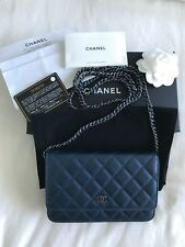 Authentic Chanel Wallet on Chain – Caviar Leather, Blue