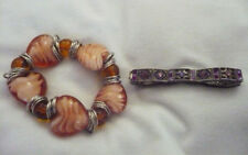 2 stretch bracelets antiqued silver metal purple RS & large glass amber hearts