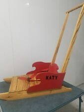 Antique Child Red Painted Wood Push Sled Sleigh - Victorian w/ oak runners c pic