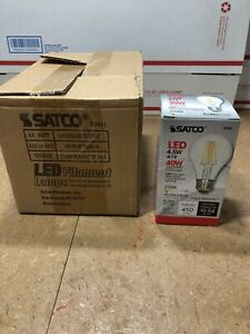 6 Satco S9561 A19 LED Clear Medium Base Light Bulb, 4.5W Filament Lamp #GG-6A