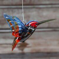 "Glass Hummingbird (Colibri) Bird Animal Figurine, Handmade Figure, Pendant 3.5"""