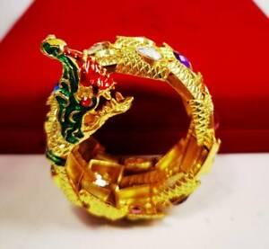Naga Bangle Gemstone Dragon Gold Bracelet Talisman Jewelry Thai Buddha Amulet