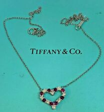 TIFFANY & Co. Platinum Diamond Pink Sapphire Heart Pendant Necklace $2,050