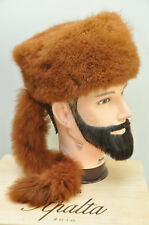 Vintage Fur Hat Fluffy Davy Crocket Fur Hat Women's Fur Hat with Tail