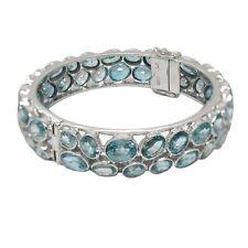 De Buman 2-Row Blue Cubic Zircon Sterling Silver Elegant Bangle Bracelet, 8.5''