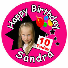 10TH BIRTHDAY- BIG PERSONALISED BADGE, NAME, PHOTO, ANY COLOURS - NEW - GIFT