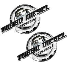 2 PC BLACK/CHROME 6.7 TURBO DIESEL MOTOR BADGE FOR TRUNK HOOD DOOR TAILGATE C
