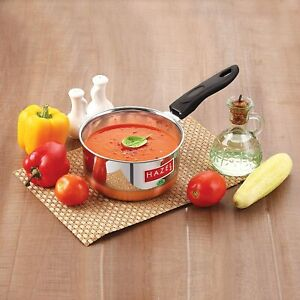 Indian Copper & Stainless Steel Sauce Pan, 1000ml, 1 Piece (Silver)