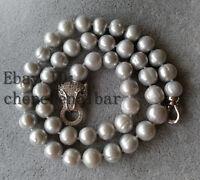 9mm kultivierte grau Süßwasser Perlenkette 17 zoll Leopard Verschluss